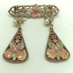 Vintage Cloisonné Earrings and Matching Brooch